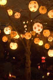 Hanging Tree Lights by You Could Take Boring Paper Lanterns And Put Leaves And Such On