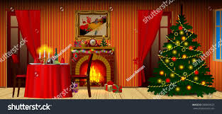 holiday interior fireplace gifts decorated christmas stock vector