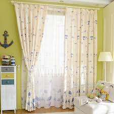 Nursery Curtain Eco Friendly Linen Cotton Blend Fabric Blue House Pattern Nursery