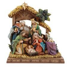 wood carved look nativity the catholic company