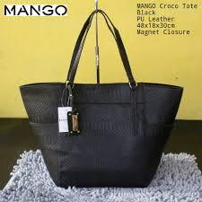 Tas Mango Orisinil mango croco tote black elevenia