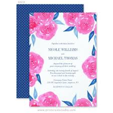 Navy Blue Wedding Invitations Pink Navy Blue Watercolor Flowers Wedding Invitations Print