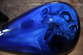 online motorcycle paint shop candy cobalt blue fire and skulls