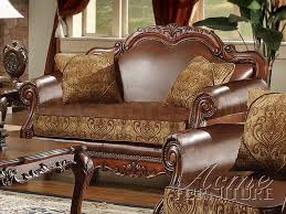 Chenille Sofa And Loveseat 3238 20 Dresden 3 Pc Leather And Chenille Sofa Set Sofa Sets Af