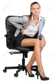 businesswoman with lower back from sitting on office chair