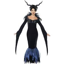 Black Raven Halloween Costume Ladies Black Maleficent Lady Raven Fancy Dress Costume 43724