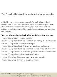 sample resume for medical assistant top8backofficemedicalassistantresumesamples 150517003553 lva1 app6892 thumbnail 4 jpg cb 1431822997