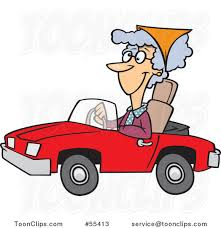 cartoon convertible car cartoon old lady driving a red convertible car 55413 by ron leishman