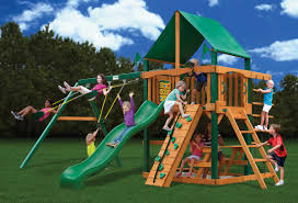 exterior outdoor playsets with green roof and wood ladder plus