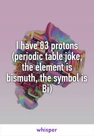 Bismuth Periodic Table Have 83 Protons Periodic Table Joke The Element Is Bismuth The