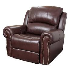 Leather Armchair Amazon Com Abbyson Mercer Reclining Italian Leather Armchair