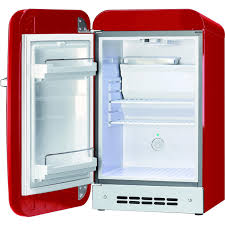 smeg 1 5 cu ft left hinge retro style compact refrigerator red