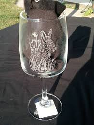 engraved barware whimsical engraved bunny wine glass engraved rabbit on wine glass