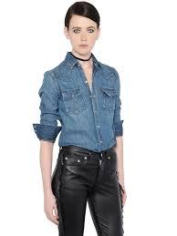 saint laurent cotton denim western shirt blue women clothing
