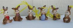 goebel porcelain set of 6 easter bunny rabbit ornaments new with box