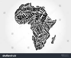 Countries Map African Countries Map Typography Word Cloud Stock Illustration