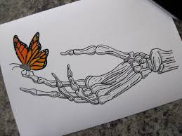 Cute Card With Watercolor Flowers With Hand Draw Sing I Love Butterfly On Skeleton Hand Print A4 By Lhartart On Etsy I Want
