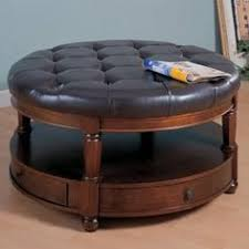 round leather coffee table alluring round leather storage ottoman coffee table in small home