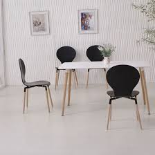 Napoli Dining Table Dining Table In White Top And 6 Black Dining Chairs