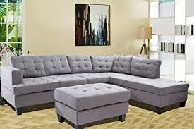 reversible sectional sofas amazon com merax 3 piece reversible sectional sofa with chaise