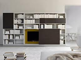 living room white rectangle shape wall shelves glass vase flower