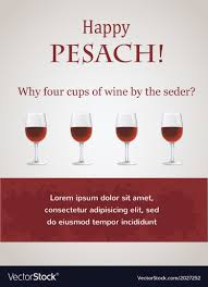four cups passover happy passover 4 cups of wine for seder vector image