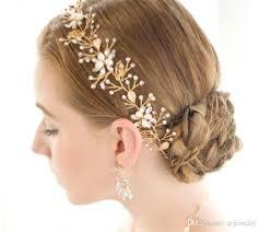 gold leaf headband wedding bridal pearl headband ribbon rhinestone crown