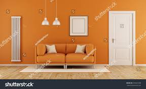 Orange Livingroom by Orange Living Room Modern Couchclosed Door Stock Illustration