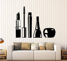 amazon com beauty salon wall stickers cosmetics makeup girl woman amazon com beauty salon wall stickers cosmetics makeup girl woman vinyl decal ig2423 home kitchen