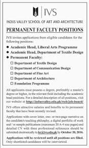 Cover Letter For Architecture Job by Ivs Karachi Jobs 2016 Indus Valley Of Art And Architecture