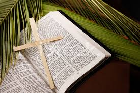 palm sunday crosses palm sunday cross and bible with branches stock photos