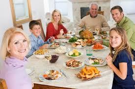 a caucasian family enjoying their thanksgiving dinner stock