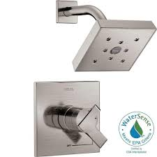 delta ara 1 handle h2okinetic shower faucet trim kit in stainless