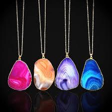 natural quartz necklace images 1 piece gold coated natural quartz necklace moon craft jewelry jpg