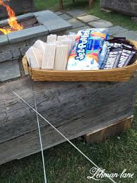 Diy Fire Pit Patio by Stone Patio Diy Fire Pit U0026 Wood Beam Benches Lehman Lane