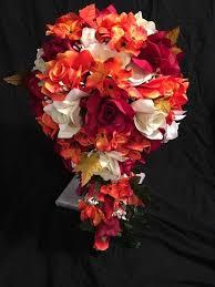 silk flowers for weddings wedding bridal bouquet burgundy yellow orange silk flower
