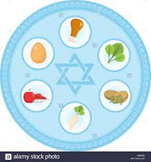 passover plate foods seder plate of food flat style passover isolated