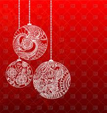 christmas balls with beautiful patterns on red background vector