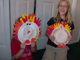 kid s thanksgiving craft and foot print paper plate turkeys