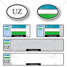 template of car plate number with flag of uzbekistan and oval