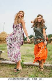 hippie style two young girls hippie style having stock photo 585546614
