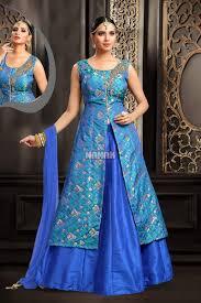 royal blue color art silk designer indo western dress