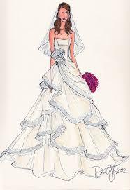 drawn wedding dress croqui pencil and in color drawn wedding