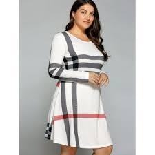 plus size striped long sleeve t shirt dress off white xl in plus
