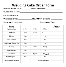wedding cake order form 17 wedding order templates free sle exle format