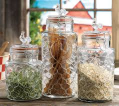 kitchen countertop canisters cookie jars everything kitchens glass rooster kitchen canister set 3 pc by home essentials