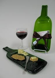 wine bottle cheese plate melted wine bottle cheese plate with plum ribbon upcycled