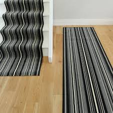 Black And White Striped Runner Rug Lima 459 Grey Black Bold Stripes Modern Made To Any Length Stair