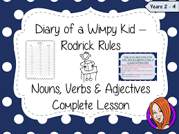 nouns verbs and adjectives complete lesson u2013 diary of a wimpy kid