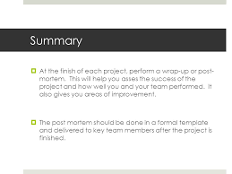 wrap up report template project wrap up post mortem ppt